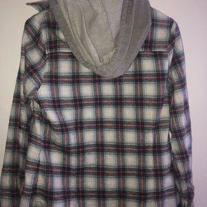 Wet Seal Flannel W/ Hoodie (L)